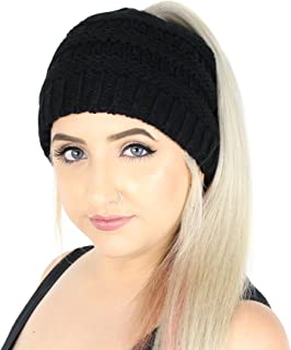 D/N/M/C Winter Cable Knit Ponytail Beanie Hat, Stretchy Messy Bun Knitted Skull Cap