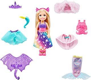 Barbie Dreamtopia Chelsea Doll Dress-Up Set with 12 Fashion Pieces, 3 to 7 Year Olds GTF40