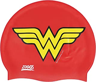Zoggs Kids' Dc Super Heroes Wonder Woman Silicone Swimming Cap, Red/yellow, One