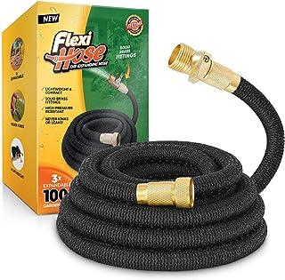 Flexi Hose Lightweight Expandable Garden Hose, No-Kink Flexibility, 3/4 Inch Solid Brass..