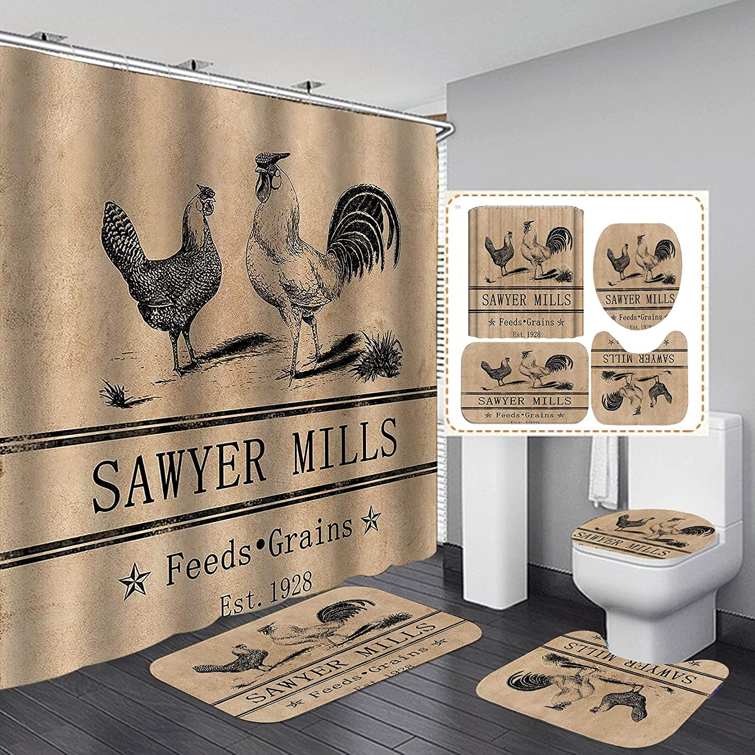 CamilleAndrew 4PCS Set Farm New arrival Life Gr Hen Curtain safety Shower Rooster