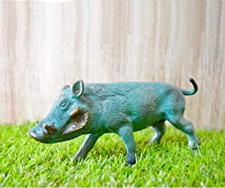 Aakrati Sky Blue Finished Brass Rhino for Home or Café Decoration - Indian Handmade Metal Craft for Gift and Decoration