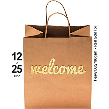 """Wedding Welcome Bags - 25 Pack - 180gsm Thick High Quality - Heavy Duty Double Sided Gold Foil - 10.5"""" x 8.25"""" - Cute & Perfect for Hotels, Guests, Bridesmaids, Baby Showers, Birthday & Party Favors"""