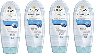 Olay Moisture Ribbons Plus Shea + Blue Lotus Body Wash, 18 Fl Oz, Pack of 4