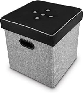 Ikee Design Storage Ottoman Cube, Toy Chest Folding Footrest Stool Seat, Multi-Function File Holder with Hole Handle