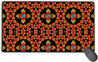 New Mexico Sun Zia Pattern Mouse Mat/Pad with Non-Slip Rubber Base, Gaming Personalised Mouse Mat with Stitched Edges