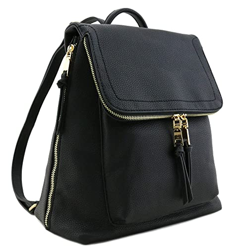 Faux Leather Zip Flapover Backpack