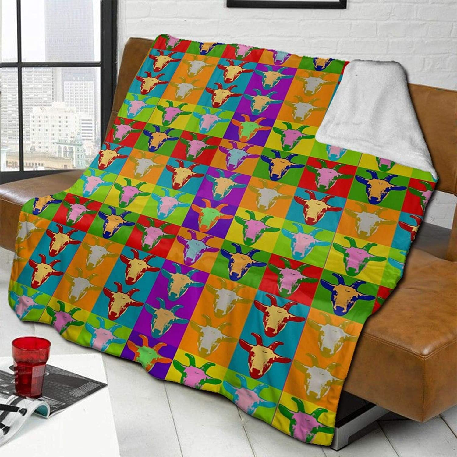 MSACRH Throw Blanket for Couch Goats Fleece Colorful Me Weekly Houston Mall update Blankets