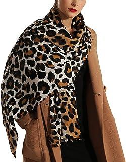NOVMAY Women's Pashmina Shawl Wrap Neck Scarf Winter Warm Long Leopard Theme Series Tassel