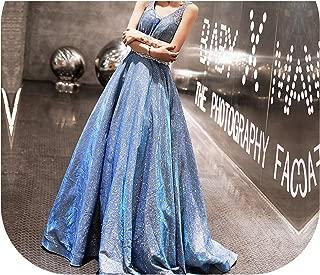 Evening Dress V Neck Sleeve Blue Train Long Formal Dresses Lace Up Tank Party