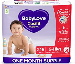 BabyLove Cosifit Nappies, Size 3 (6-11kg) One Month Supply (3 packs of 72, 216 nappies total)