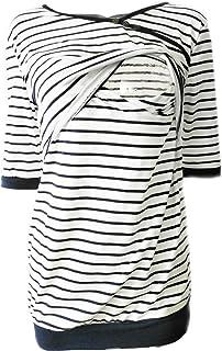 قميص رياضي مخطط للأمومة للنساء بأكمام قصيرة للرضاعة الطبيعية XXL أبيض من BABE MAPS