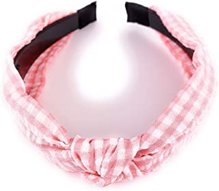 Molly /& Rose Soft Stretch Hairband Pink//white Gingham Girls