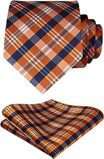 Extra Long Check Tie Handkerchief Men's Necktie & Pocket Square Set