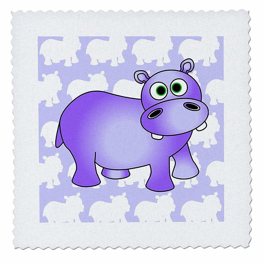 3dRose Janna Salak Designs Jungle Animals - Pretty Purple Hippopotamus Cute Hippo - 12x12 inch quilt square (qs_24624_4)