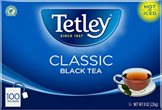 Tetley Black Tea Bag, Classic, 100 Count, Pack of 6