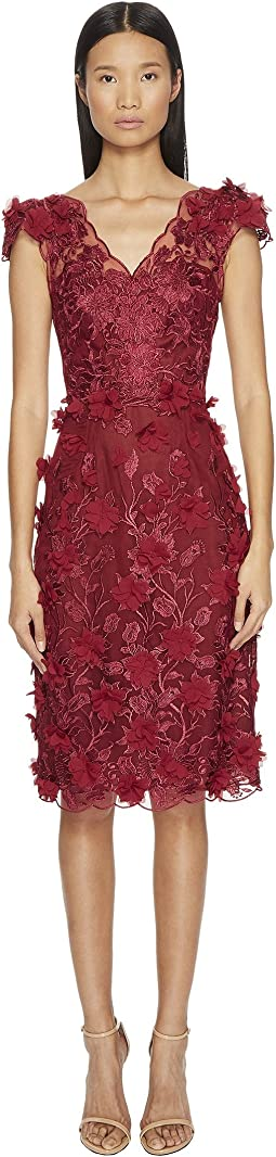 Marchesa Notte - Embroidered V-Neck Cocktail w/ Cap Sleeve Dress