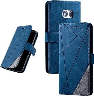 Galaxy S7 Edge (SC-02H / SCV33) 手帳型ケース 財布型 カード収納 スタンド機能 マグネット開閉 軽量TPU 収納力抜群 横置き機能 ソフトシリコン スマホケース 防指紋 レンズ保護 落下防止 全面保護 (ブルー)