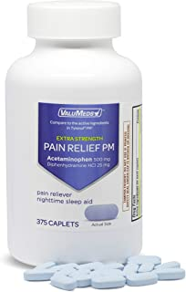 Best ValuMeds PM Pain Reliever and Nighttime Sleep Aid (375-Caplets) Acetaminophen 500mg   Fast-Acting Relief for Headaches, Minor Aches   Non-Habit Forming Review