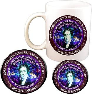Michael Faraday Scientist Astrology Virgo/Libra Cusp Zodiac Metal Pig Cup + Magnet + Pin