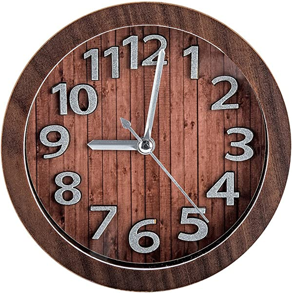 Vitaa Vintage 5 Inch Retro Old Fashioned Quiet Non Ticking Sweep Second Hand Quartz Analog Desk Clock Battery Operated Loud Alarm Brown