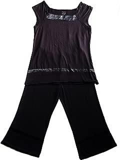 Black Modal Sleepwear Cap Sleeve Capri Pants 30121,90120 (S)