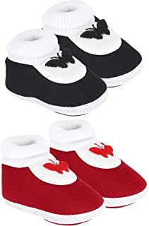 Neska Moda Baby Boys and Baby Girls Black and Maroon Booties for 0 to 12 Months