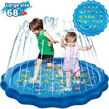 "KingsDragon Splash Pad Inflatable Sprinkler for Kids Outside Toys, 68"" Sprinkle and Splash Play Mat Kiddie Baby Toddlers Swimming Wading Pool for Learning Water Toys Gifts for 1-12 Year Olds"