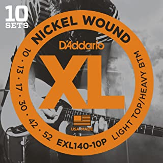 D'Addario XL Nickel Wound Electric Guitar Strings, Light Top/Heavy Bottom Gauge – Round Wound with Nickel-Plated Steel for Long Lasting Distinctive Bright Tone and Excellent Intonation – 10-52, 10 Sets
