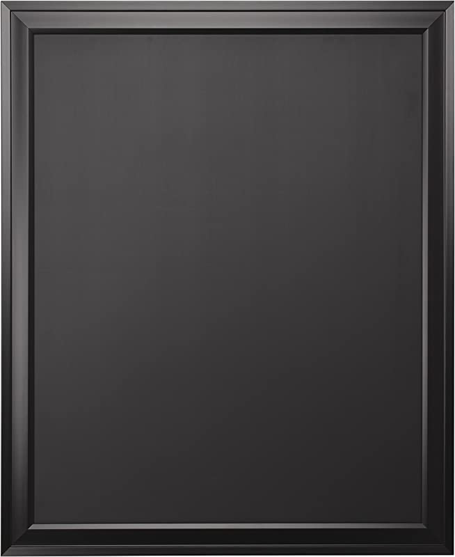 DesignOvation Bosc Wall Mounted Framed Magnetic Chalkboard 27 5x33 5 Black