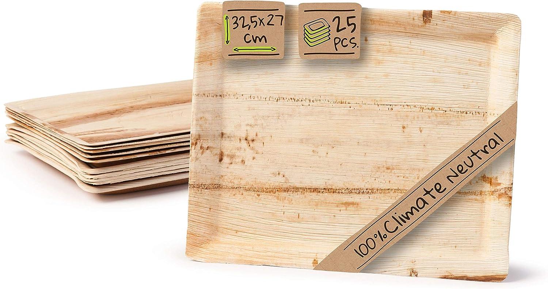 BIOZOYG Palmware - Bandeja de Gastro Plato de Hoja de Palma I Plato de Servir Plato de Pastel Plato desechable Platos de Fiesta Bandeja Decorativa I 25 x Bandeja de gastrot 32.5 x 27 cm