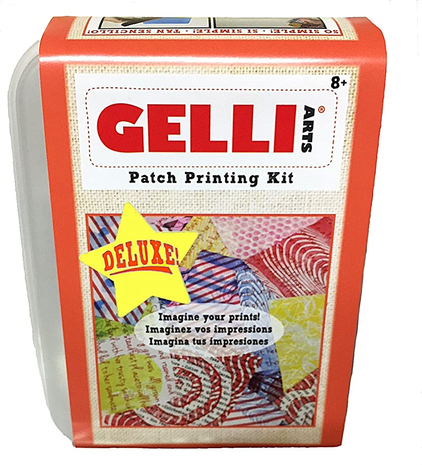 Gelli Arts Deluxe Fabric Printing Kit -All in One DIY Craft Set with 5 x 5 Gel Printing Plate, Five Premium Paint Colors, Roller, Paper, Storage Container and More!