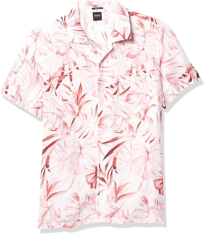 BOSS Men's Printed Linen Mix Short Sleeve Button Down Shirt
