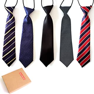 Elesa Miracle Boys Pre-tied Elastic Neck Strap Tie Little Boys Necktie Value Set of 5