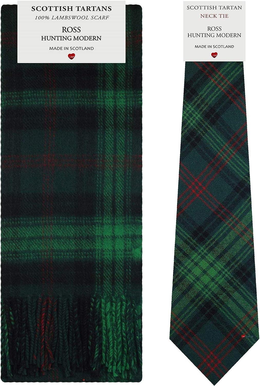 Ross Hunting Modern Tartan Plaid 100% Lambswool Scarf & Tie Gift Set