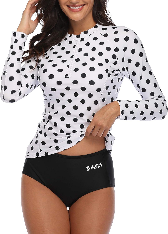 Daci Women Rash Guard Long Sleeve Zipper Bathing Suit with Built in Bra Swimsuit UPF 50