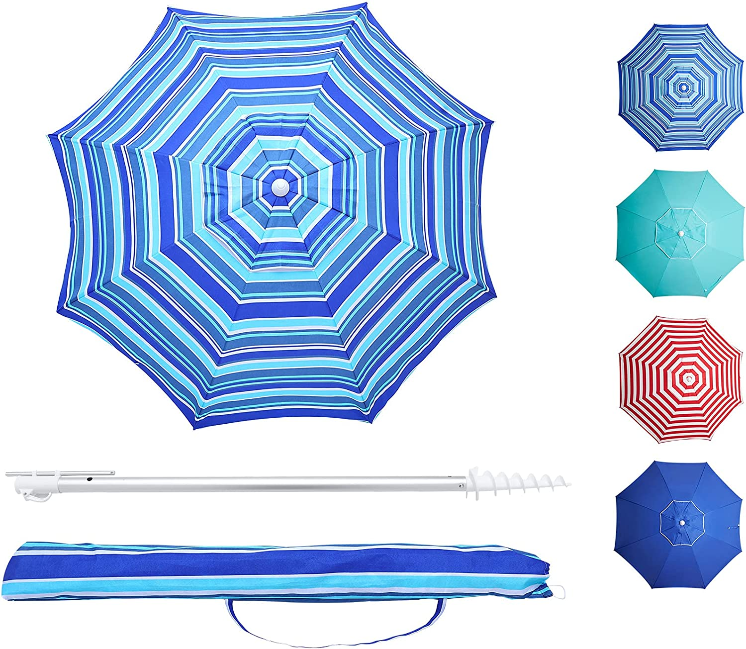 Meluvici Beach Umbrella 6.5ft Ancho for with Sand Manufacturer regenerated All stores are sold product