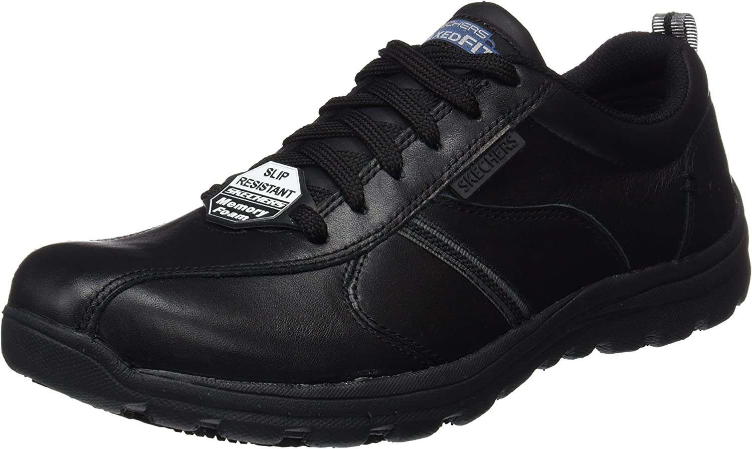 Skechers Mens Hobber Frat Slip Resistant Lace Up Work shoes Black Size UK 6 EU 39.5