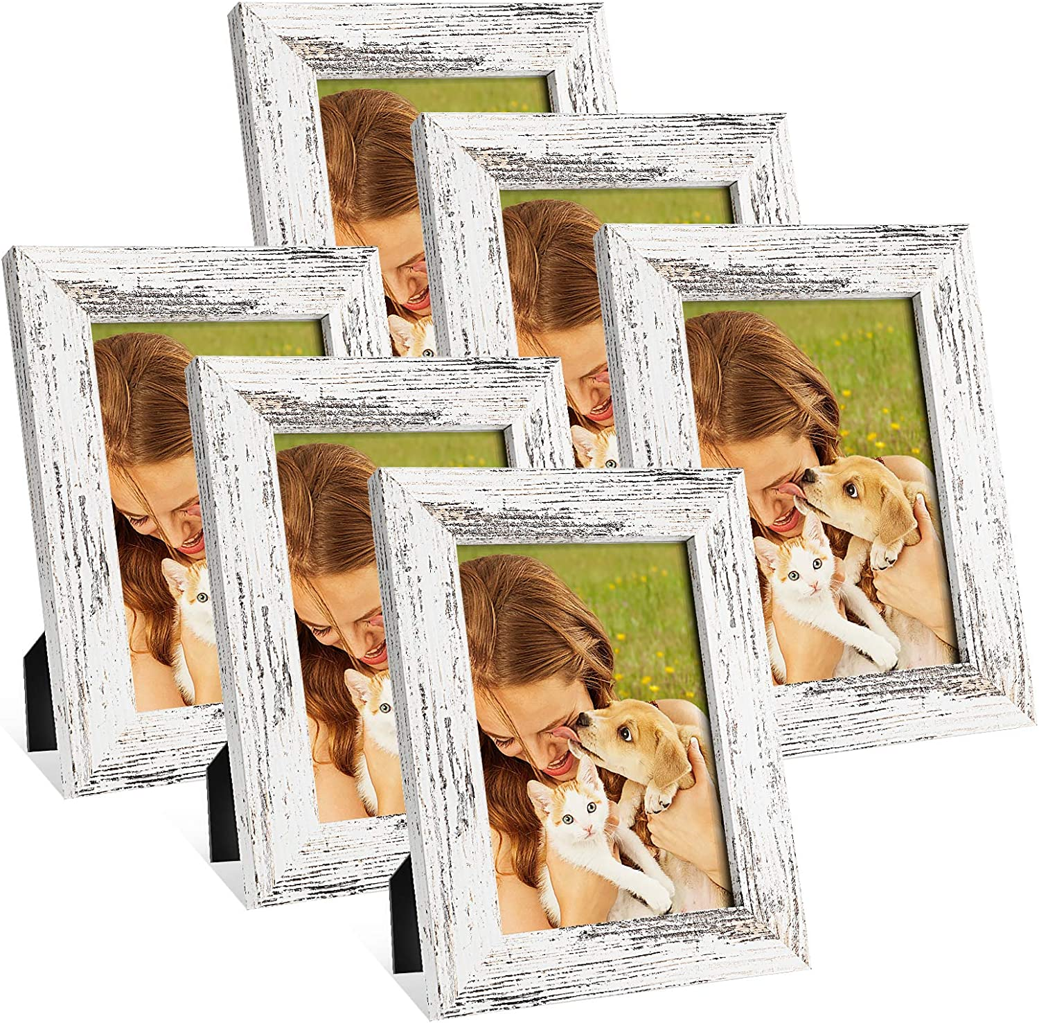 AOXOI 5x7 Picture Frames Set of 6,Wood Pattern Photo Frames for Wall or Tabletop Display,Made of High Definition Glass for 4x6 with Mat or 5x7 Without Mat,Mounting Hardware Included,Distressed White
