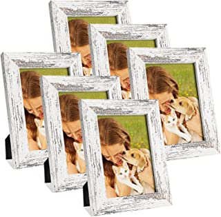 5x7 Picture Frames Set of 6,Wood Pattern Photo Frames for Wall or Tabletop Display,Made of High Definition Glass for 4x6 w...