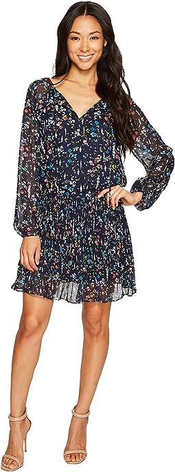 Petite Dropwaist Floral Chiffon Dress with Sleeve