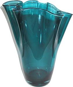 SIGNATURE HOME COLLECTION, Vaso in Vetro soffiato Vaso Decorativo per Fiori, Vetro, Turchese, 21x 21x 30cm