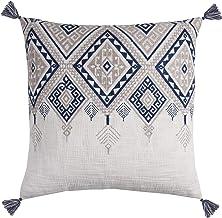 "Rizzy Home Decorative Pillow, Blue/White, 20"" x 20"""