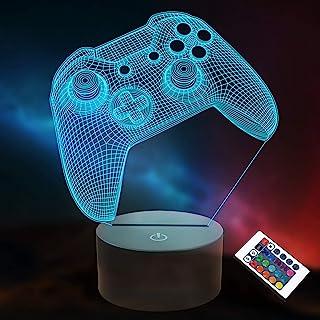 3D Gamepad Nachtlicht, Lightzz Game Console Illusionslampe mit Fernbedienung + Touch 16 Farbblinken Wechseln + Timer Schre...