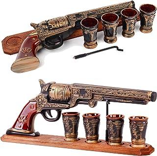 Pistol Gun Decanter Set 600ml 4 Shot Glasses for Alcohol Whiskey Vodka Tequila Liquor Brendy Cognac Scotch Wine Gin – Unus...