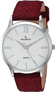 Peugeot Slim Case Burgandy Analog-Quartz Watch with geninue-Leather Strap, Purple, 21 (Model: 2058WN)