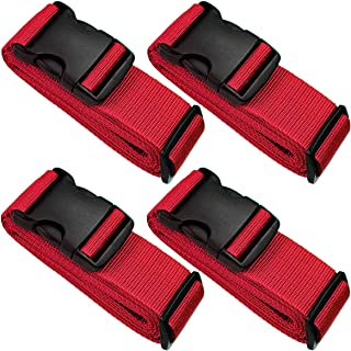 4 Pack Baggage Belt Heavy Duty Adjustable Red Luggage Strap Belt for Suitcases