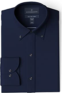 "Buttoned Down Men's Slim Fit Button Collar Solid Pocket Options, Navy 15.5"" Neck 35"" Sleeve"