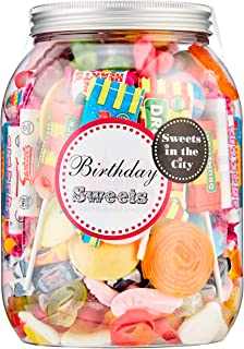 Sweets in the City Giant Birthday Sweets Jar | Reusable Plastic Jar with Embossed Twist Lid | Bumper-Sized Mix of Candy and Yummy Goodies | Perfect Gift for Birthdays | Premium Confectionery - 1kg
