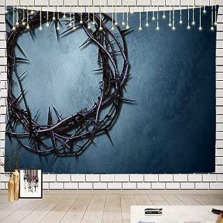 Batmerry Christian Jesus Tapestry, Crown Thorns Easter Cross Faith God Gospel Jesus Picnic Mat Beach Towel Wall Art Decoration for Bedroom Living Room Dorm, 51.2 x 59.1 Inches, Dark Blue
